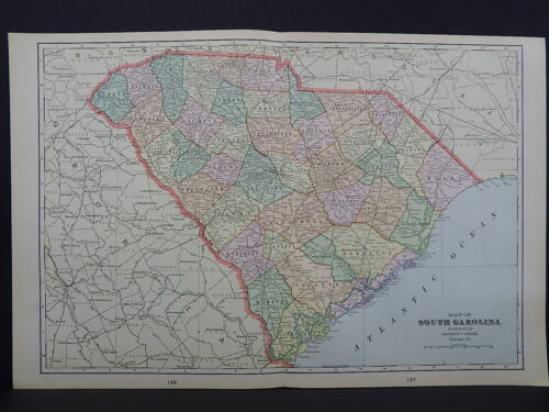 South Carolina 1901 State Map, George F. Cram W18#21