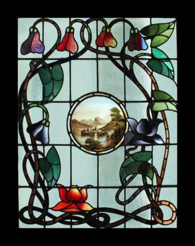 Rare Art Nouveau Antique English Stained Glass Window Stunning Painted Center
