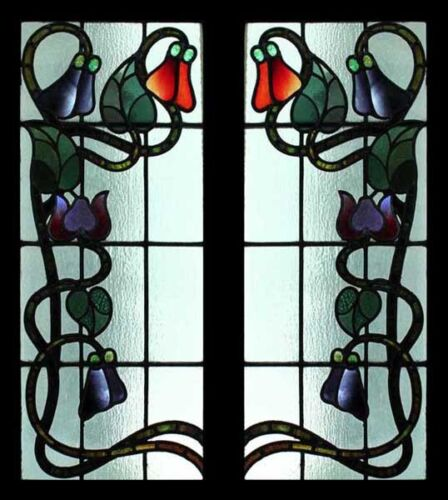 Rare Art Nouveau Antique English Floral Stained Glass Sidelights