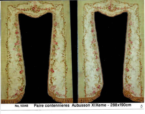 Antique French Aubusson sage green pink drapery Tapestry panels