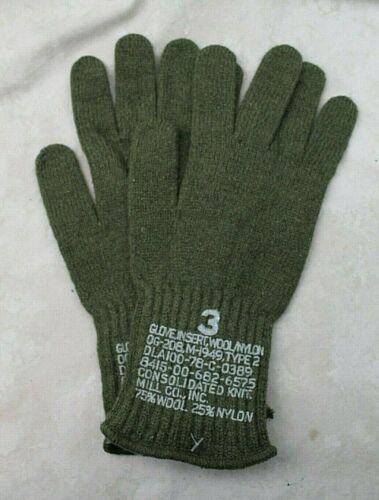 GENUINE WOOL US MILITARY ARMY ISSUE OD GREEN COMBAT GLOVES / LINERS SZ 3 MEDIUMUniforms & BDUs - 70988