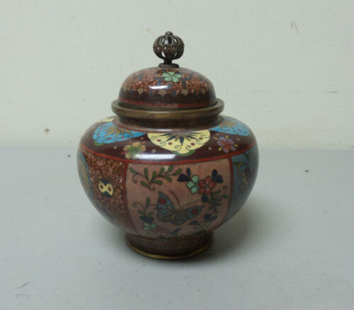 BEAUTIFUL 19th C. ANTIQUE JAPANESE CLOISONNE ON BRONZE LIDDED JAR