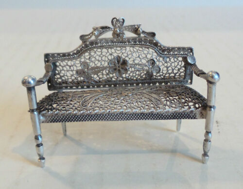 BEAUTIFUL ANTIQUE .800 SILVER SETTEE with ELABORATE FILAGREE DESIGN