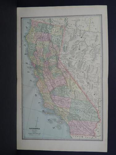 Vintage Map 1885 George Cram Double Page Map California & Nevada W18#37