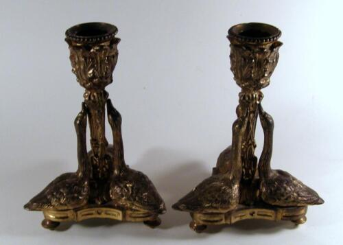 Vintage Mottahedeh Antique Reproduction Gilt Brass Bronze Swan Candlestick Pair
