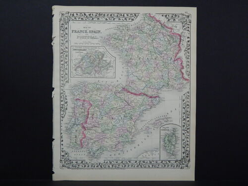 1874 Mitchell's New General Atlas France, Spain, Portugal R7#29