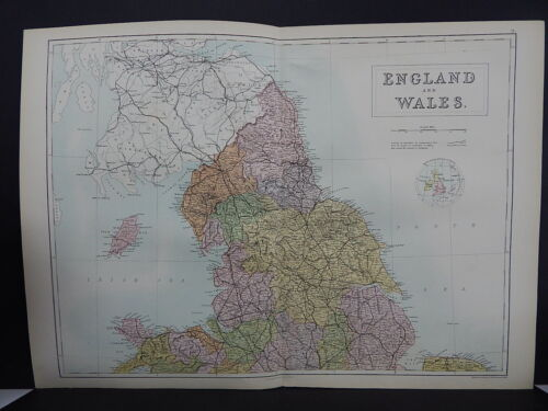 Black's 1876 Atlas, England and Wales, Two Double Page Maps  R7#77