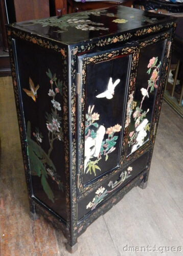 Vintage Chinese Black Lacquer  2-Door Cabinet Painted Birds Fruit Flowers Trees