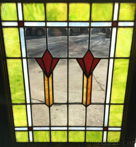 "Antique Art Deco Stained Leaded Glass Window from Chicago 29"" by 24"""