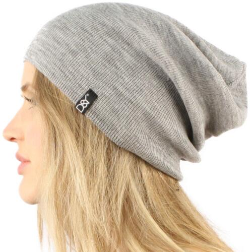 Unisex Soft Thin Stretchy Knit Long Beanie Slouchy Slouch Skull Hat Cap Gray