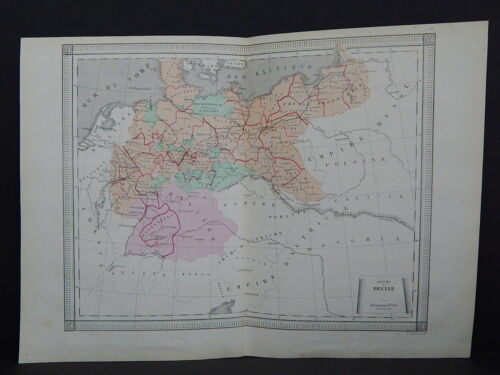 Antique Maps, French Atlas, c. 1870, Hand Color, Germany, Bavaria S23