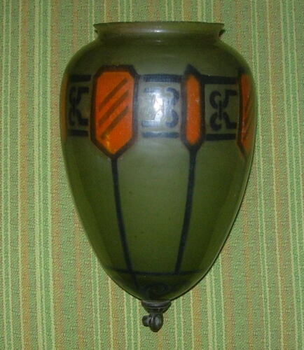ART DECO  DEILING LIGHT GLOBE  SHADE  GREEN GLASS WITH STENCIL  C. 1930