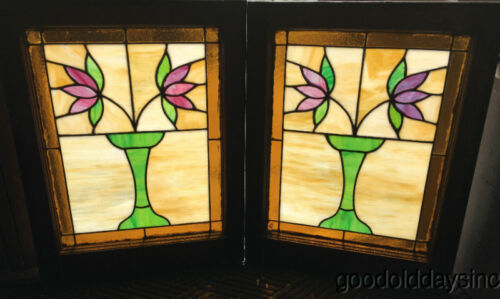 """2 Antique 1920s Classic Chicago Bungalow Stained Leaded Glass Windows 25"""" by 20"""""""