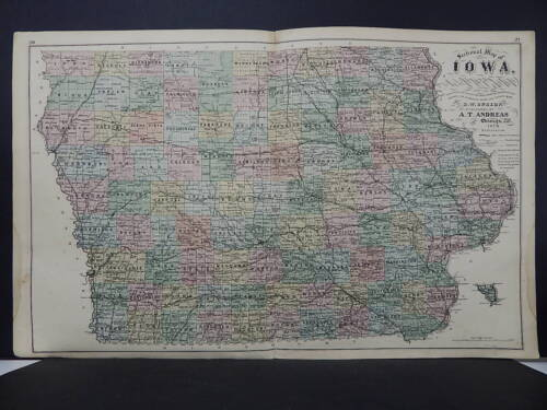 Iowa State Map, 1875, Original Hand Color M3#06