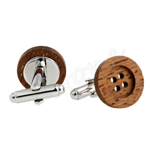 1 Pair Funky Wooden Button Cufflinks Vintage Style Mens Party Wedding Gift