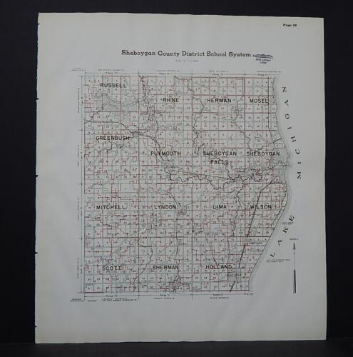Wisconsin, Sheboygan County Map, 1941 School Districts L22#59