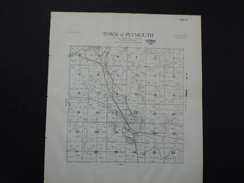 Wisconsin, Sheboygan County Map 1941 Town of Plymouth L22#47