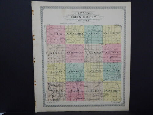 Wisconsin, Green County Map, 1918 Shows All the Townships & Railroads