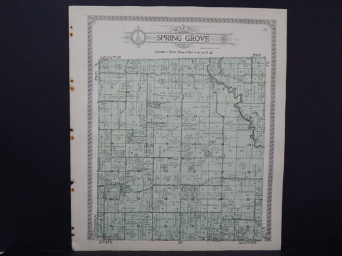 Wisconsin Green County Map 1918 Spring Grove & Decatur Townships Double Sided #6