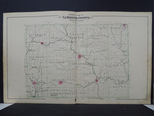 Wisconsin Lafayette County Map 1895 Double Page L22#22