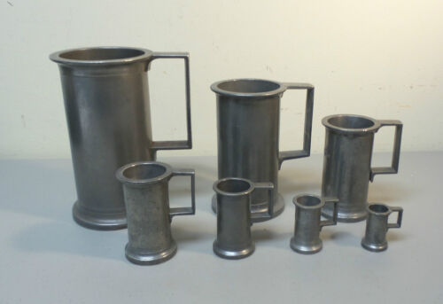 NICE SET (7) MID-19th C. FRENCH PEWTER GRADUATED MEASURES / MEASURING CUPS