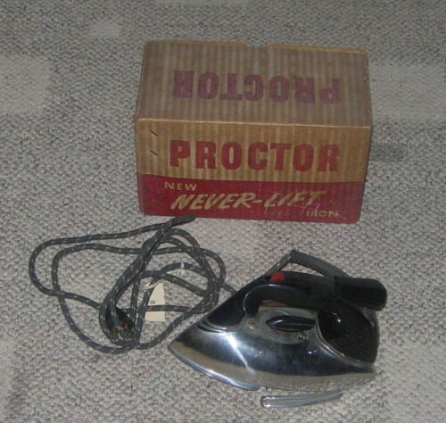 PROCTOR  NEVER LIFT IRON  C. 1940'S  #961A  BOXED  ART DECO  MODERN