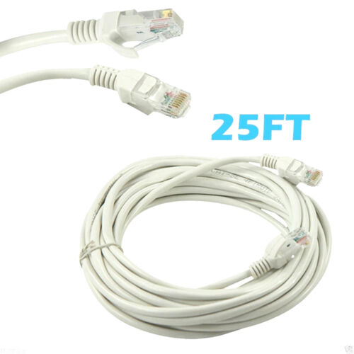 25ft RJ45 Cat5 Patch Cord Cable For Ethernet Internet Network LAN Router White