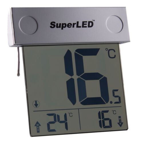 Solar Powered Outdoor Window Thermometer SuperLED