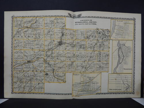 Illinois, Map, 1876, Counties of Kendall, Will, Grundy, and Part of Cook L15#58