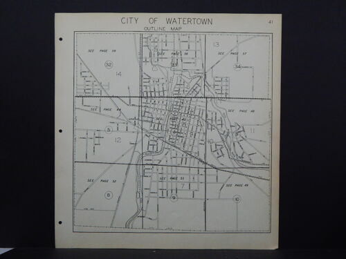 Wisconsin Jefferson County Map 1941 City of Watertown Y16#26