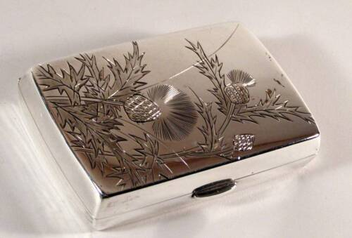 Fine Japanese Engraved Thistle 950 Sterling Silver Card / Cigarette Case Signed