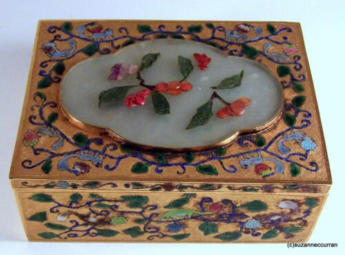 19th C Chinese Gilt Silver & Enamel Squirrel Box with Carved Jade & Cinnabar