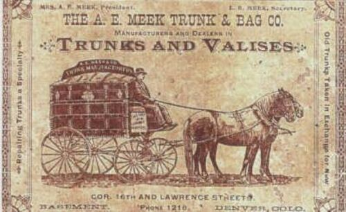 A.E. Meek Trunk & Bag Co. Marker Label steamer print chest decal sticker antique