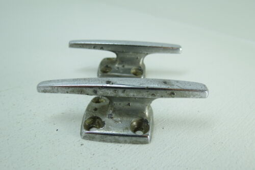 PAIR 3 INCH OLD CHROME SHIP BOAT DOCK CLEATS CHOCKS (#1576)