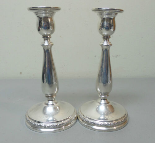 "PAIR INTERNATIONAL ""PRELUDE"" STERLING SILVER 7.5"" CANDLESTICKS, WEIGHTED"