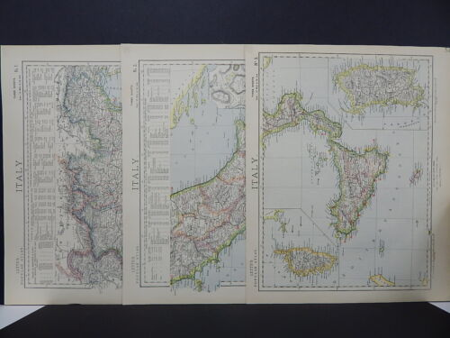 Antique Map, Lett's, 1883 Italy, 3 Maps!  R7#84