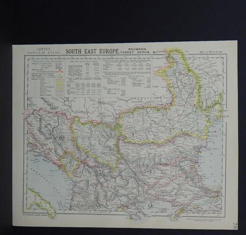 Antique Map, Lett's, 1883  South East Europe  R7#92