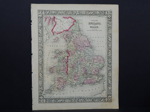 Antique Map, Mitchell, 1865 England & Wales M8#14