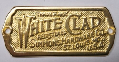 Polished Brass - Cast White Clad Ice Box Name Plate nameplate refrigerator Si...