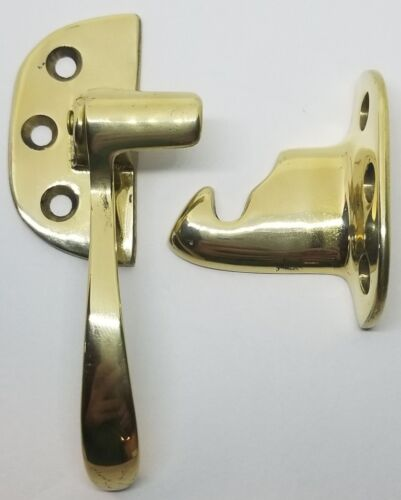 "LEFT HAND BRASS Plated Ice Box Latch 3/8"" Off Set antique vintage retro freezer"