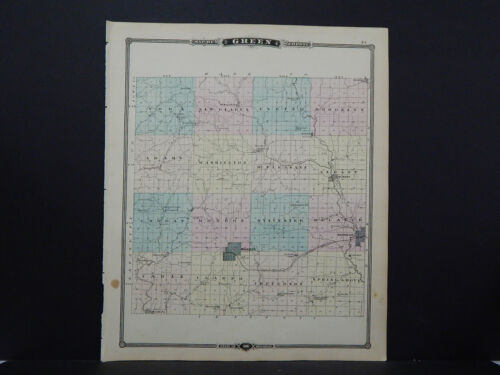 Wisconsin, Antique Map, 1878, Green County, M9#15