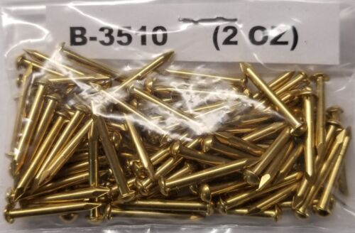 "14 Gauge 3/4"" Inch Solid Brass Escutcheon Pins dome head brad nails finishing"