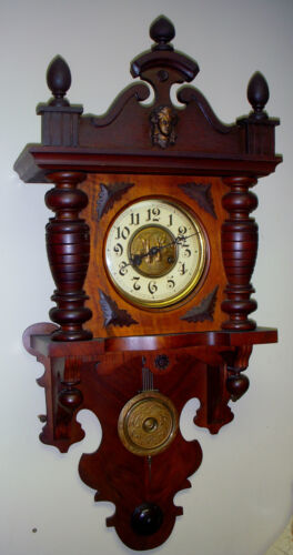 FINE ANTIQUE GONGSCHLAG MAUTHE CHIME SWINGER WALL CLOCK 8 DAY GERMANY WORKING