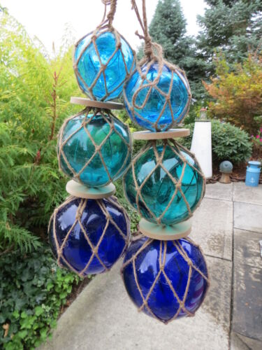 "TWO  3""4""5""  BLUES COLORS TRIO CURIO GLASS FLOATS BALLS BUOYS BOUYS NET"