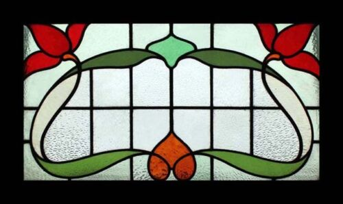 Amazing Art Nouveau Flowers Transom Antique English Stained Glass Window