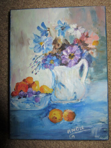VINTAGE 70s floral flower original hand painted oil PAINTING by Angie