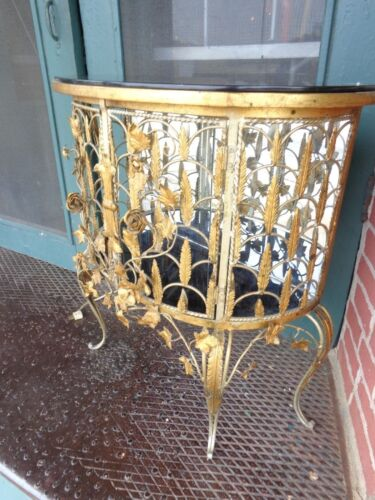 VINTAGE ITALIAN GOLD GILT FLORAL ROSES METAL WROUGHT IRON VITRINE CONSOLE