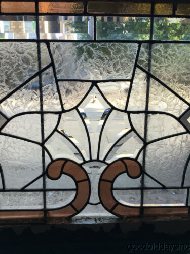 """1890's Victorian Stained Leaded Glass Transom Window 44"""" by 24"""""""