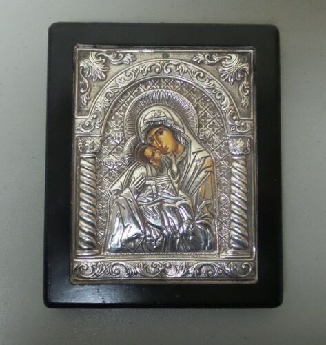 GREEK ICON MADONNA & CHILD, .950 SILVER RIZA, HAND DECORATED, GREAT DETAILS