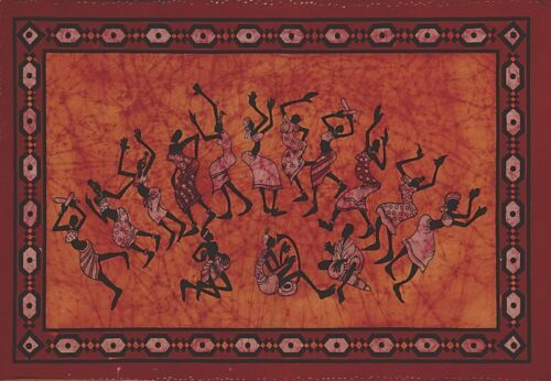 TAPESTRY Hanging DANCING TRIBE Wall Decor SPREAD Red TIE DYE FABRIC Tablecloth